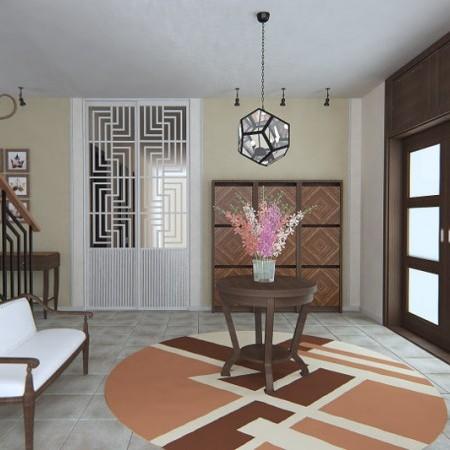 Vstupná hala, v ktorej je dizajnérsky koberec Pudrenka od Renaty Botev