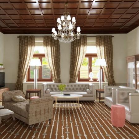 Obývačka v secesnej vile s dizajnérskym kobercom