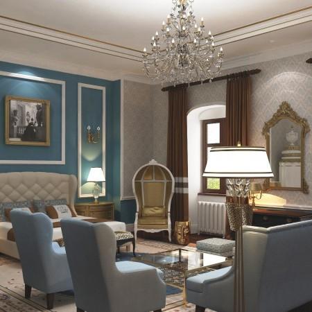 Luxusná spálňa v barokovom kaštieli