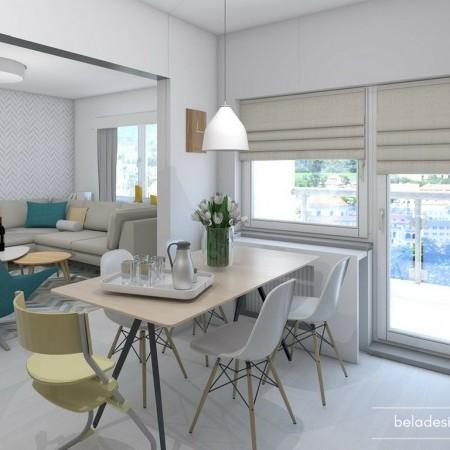 Obývák s kuchyní v panelákovém bytě