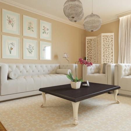 Rodinný dom - obývačka v kasickom štýle s dizajnérskym kobercom